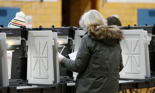 A voter at a polling station.